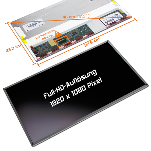 LED Display 17,3 1920x1080 matt passend für AUO B173HW02 V.0