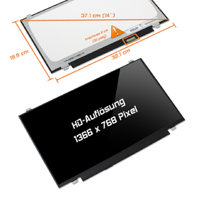 LED Display 14,0 1366x768 glossy passend für BOE...