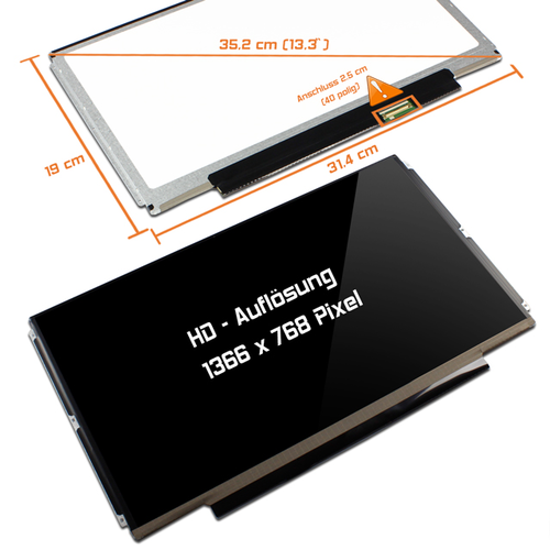 LED Display 13,3 1366x768 glossy passend für IVO M133NWN1 R0